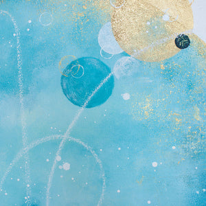 "Sandpiper Moon Painting in Blue 60cm sq 24"" sq"