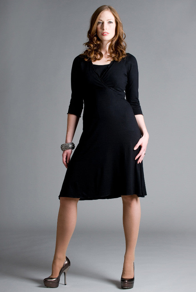 Black breastfeeding dress with easy nursing access