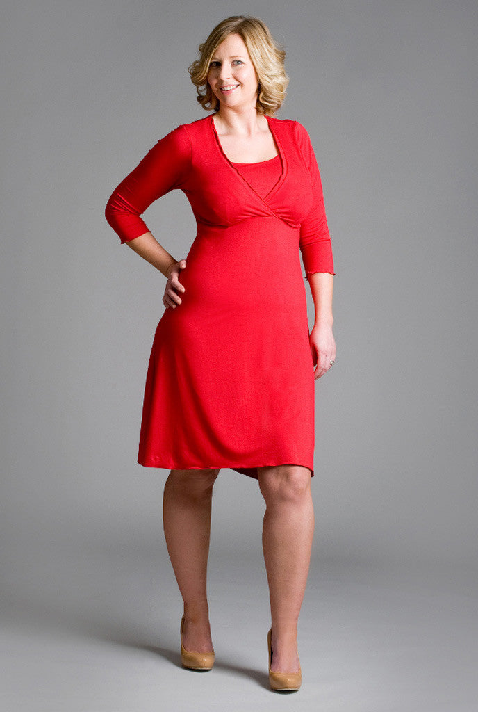 Chic nursing dress in red