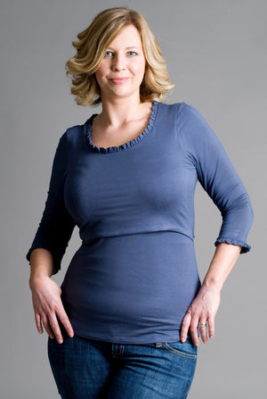 Effortless Scoop Neck Breastfeeding Top in Slate Navy