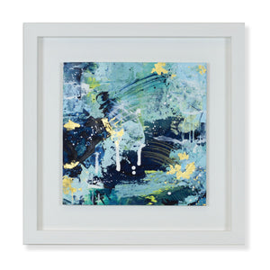 Elysium | Framed blue green abstract landscape painting 35cm