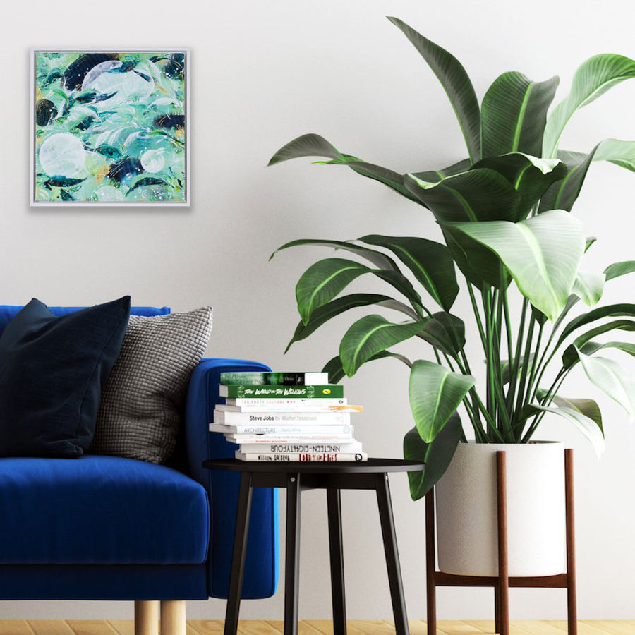 Feathers and Fronds Green Rainforest Painting