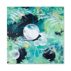 Fireflies and Moondrops | Green blue rainforest painting 60cm x 60cm