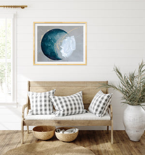 Seaspray Moon Painting Deep Indigo 50cm x 65m