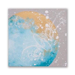 Astraea Moonbathing Moon painting in turquoise gold 20cm x 20cm