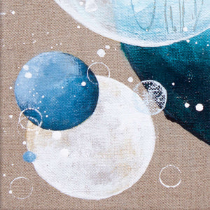Pensacola Dreams Moon Painting on Raw Linen Canvas 30cm x 40cm