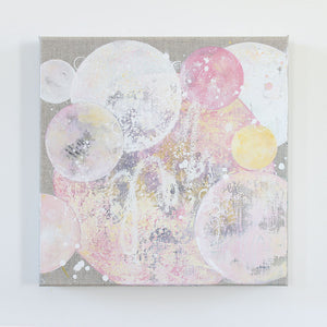 Sherbet Drift Moon Painting on Raw Linen Canvas 30cm x 30cm