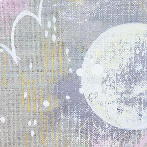 Delighted Moon Painting on Raw Linen Canvas 30cm x 30cm