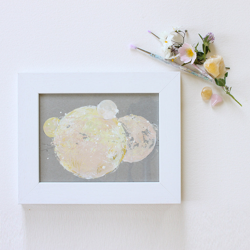 "Peach Melba Moon Painting 8"" a 10"""