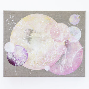 MoonBloom Painting 40cm x 50cm on Raw Linen Canvas