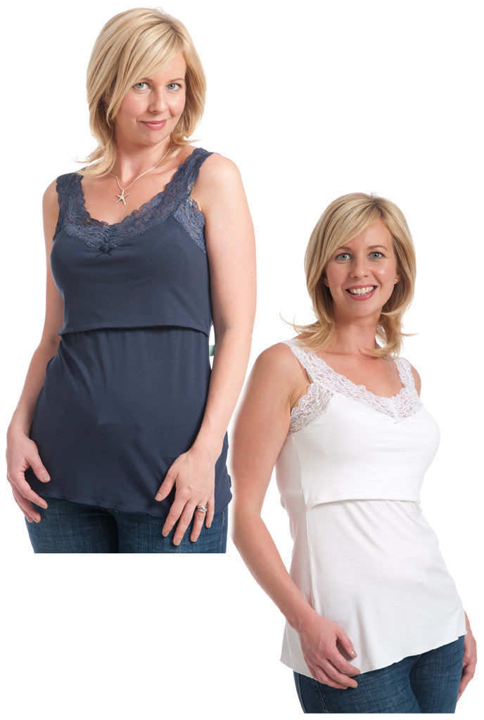 Nursing Vest Twin Pack Lace Scoop Neck Navy White