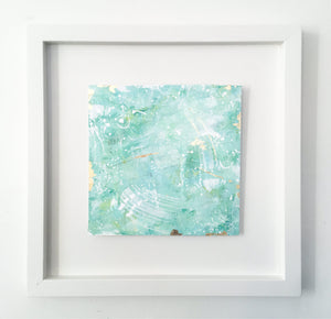 Over The Andes | Framed green abstract landscape painting 35 cm