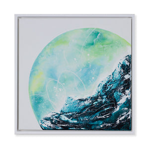 Ripple Effect | Framed Wave Moon Earth Painting 40cm x 40cm