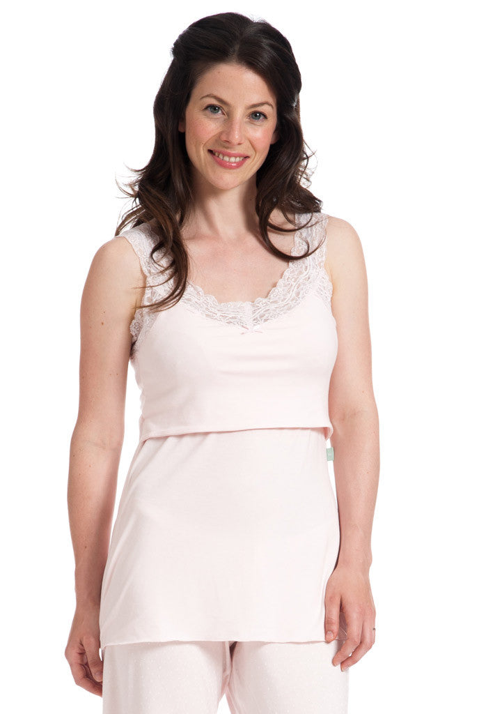 Lace Trim Breastfeeding Vest in Blush Pink