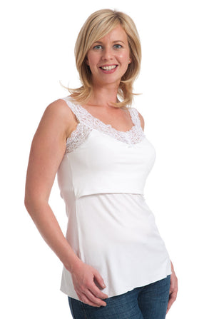 Nursing Vests in White with Lace Trim