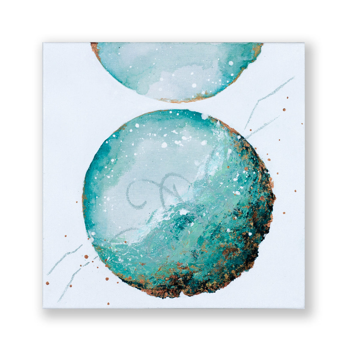Tentative | Copper Verdigris moon painting 30cm x 30cm
