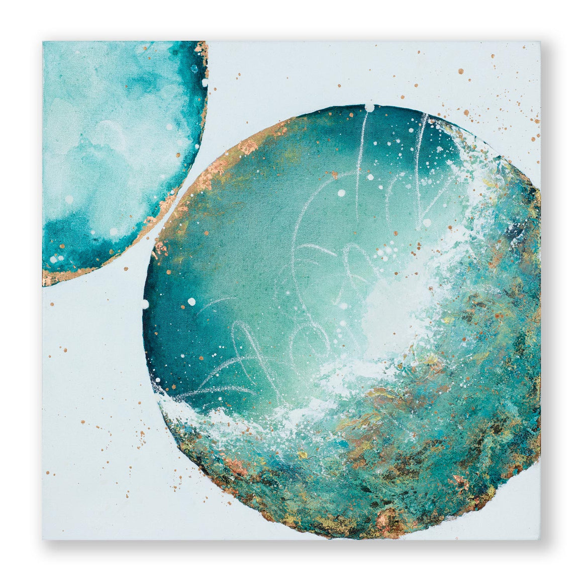 Veridgris | Copper Verdigris  moon painting 50cm x 50cm