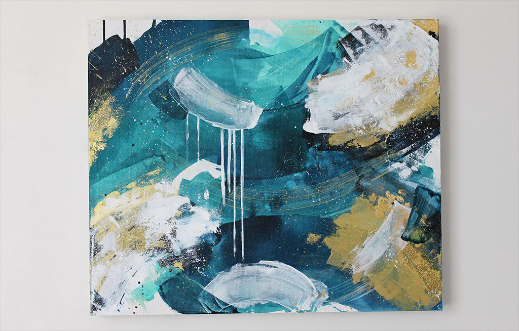 Waves 5 Back Eddy Abstract Painting 50cm x60cm