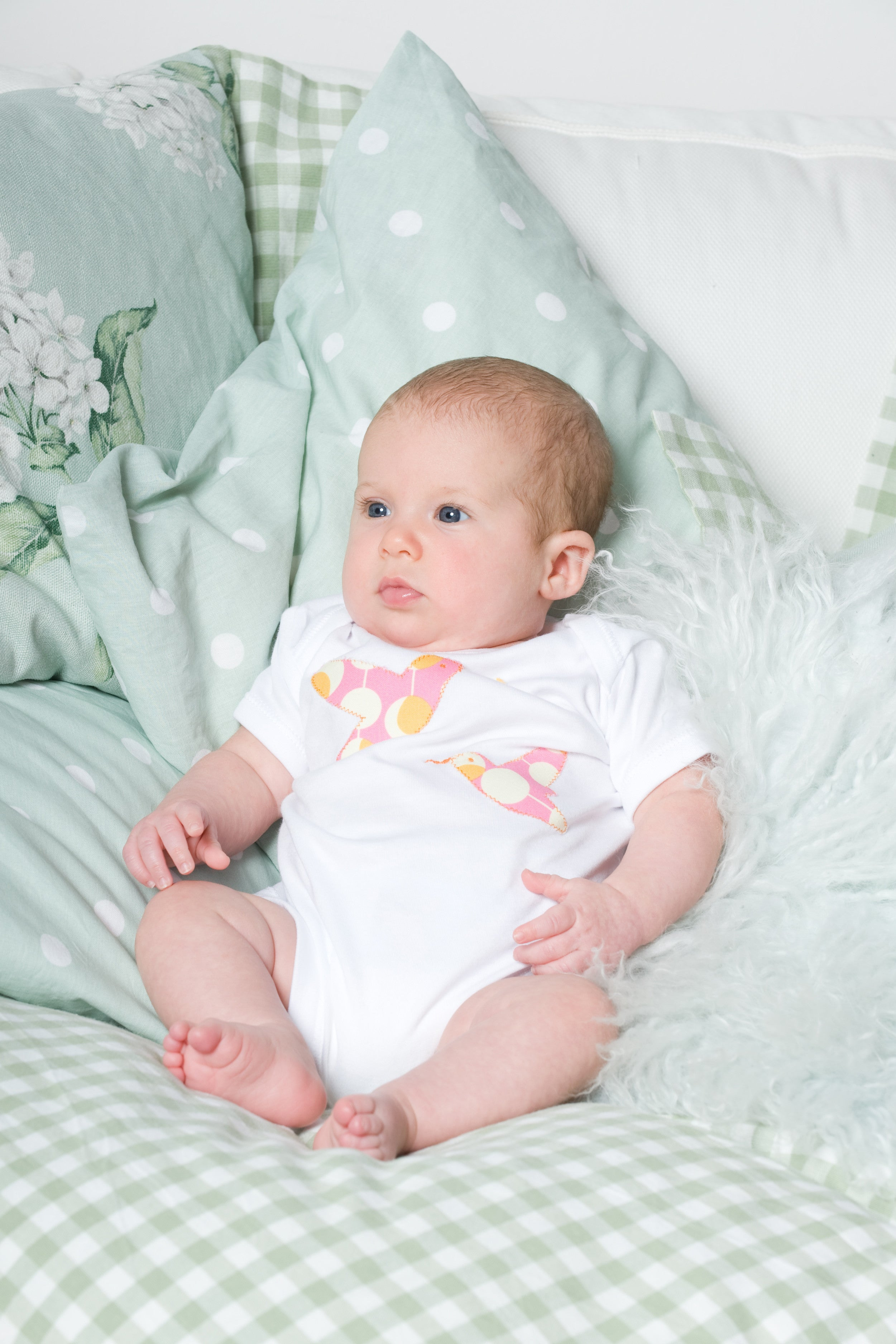 Baby Bodysuit Short Sleeve 0-3m Hummingbird Orange Pink Spot