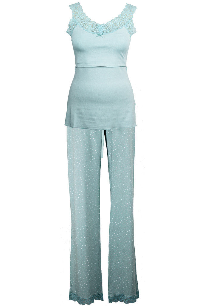 2 piece nursing maternity pj set in duck egg