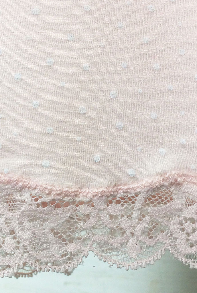 blush pink lace detail on maternity pj trouser
