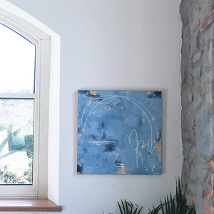 City Lights Blue Abstract Painting 60cm x 60cm
