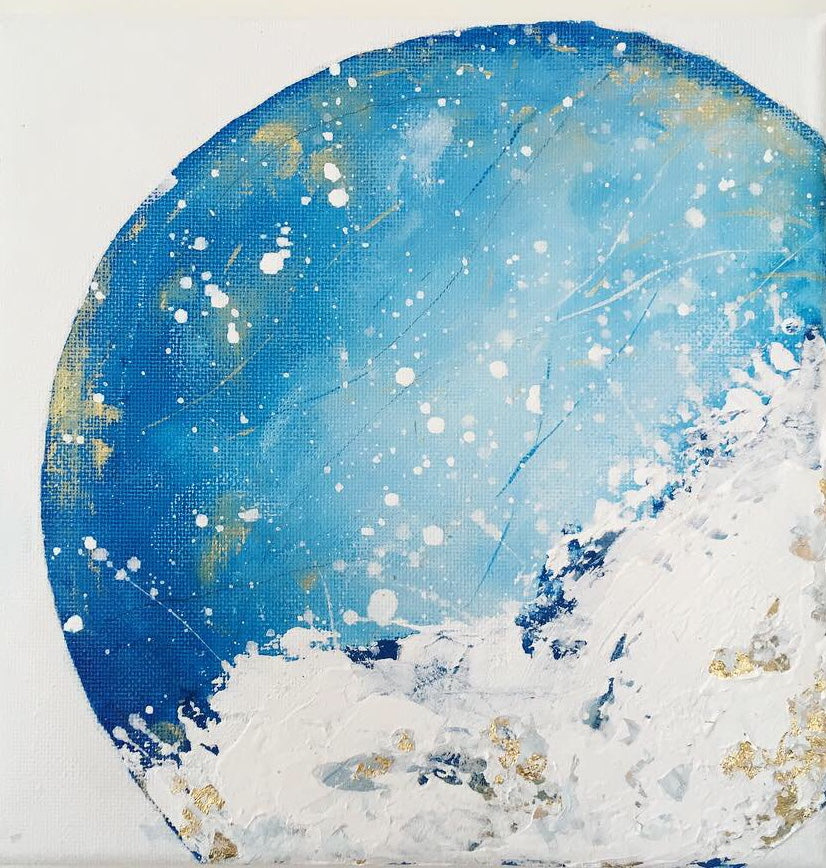 Moonscape #104 | Mer Lunaires Series | Abstract painting blue moon