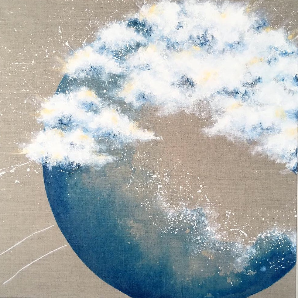 Moonscape #106| Mer Lunaires Series | Abstract painting blue  moon clouds