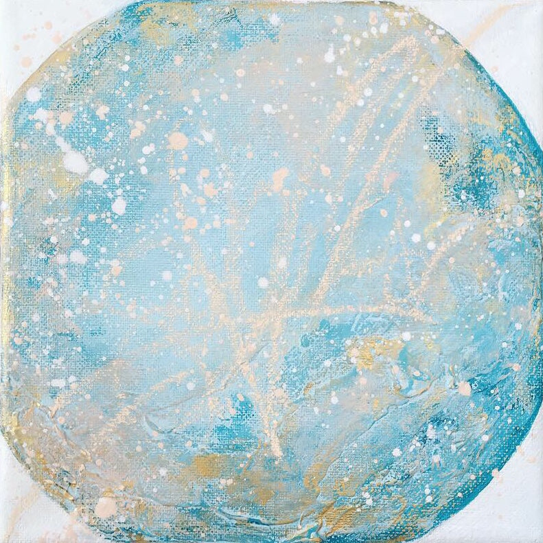 Moonscape #111 Clarity | Mer Lunaires Series | Abstract painting moon turquoise peach
