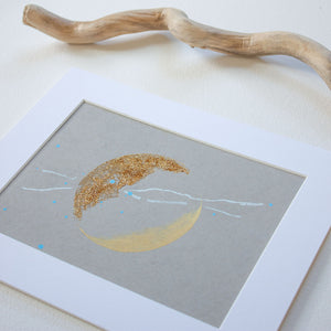 "Sandkissed Moonbathing Moon Painting 8"" x 10"""