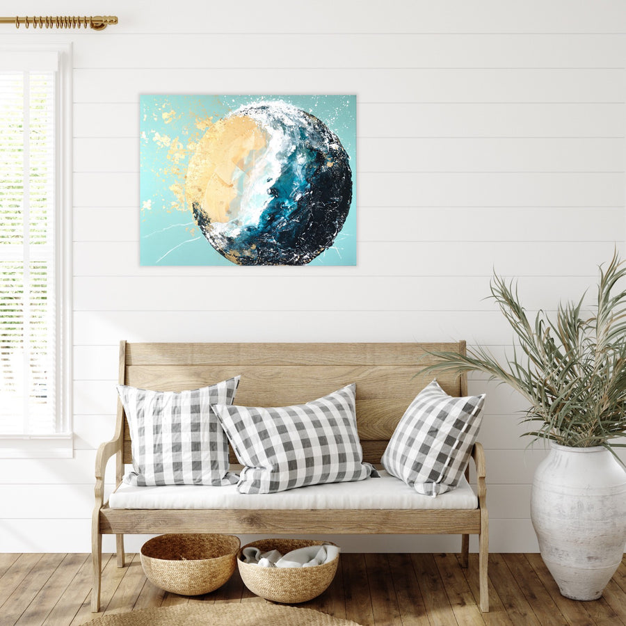 Ebb & Flow Moonbathing Moon Painting 60cm x 75cm