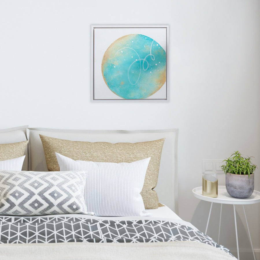 Tidepool Framed Moon Painting 40cm sq