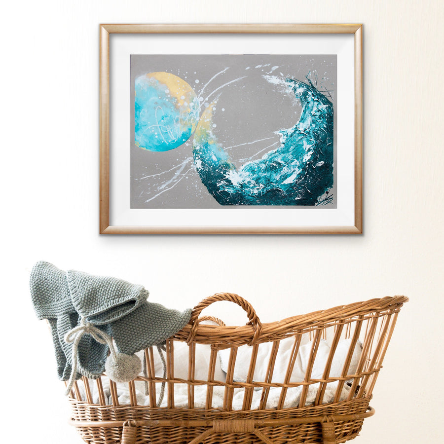 "Sunkissed Shoreline Moonbathing Moon Painting 45.7cm x 61cm | 18"" x 24"""
