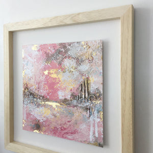 Blushing Skyline abstract painting in pinks & neutrals