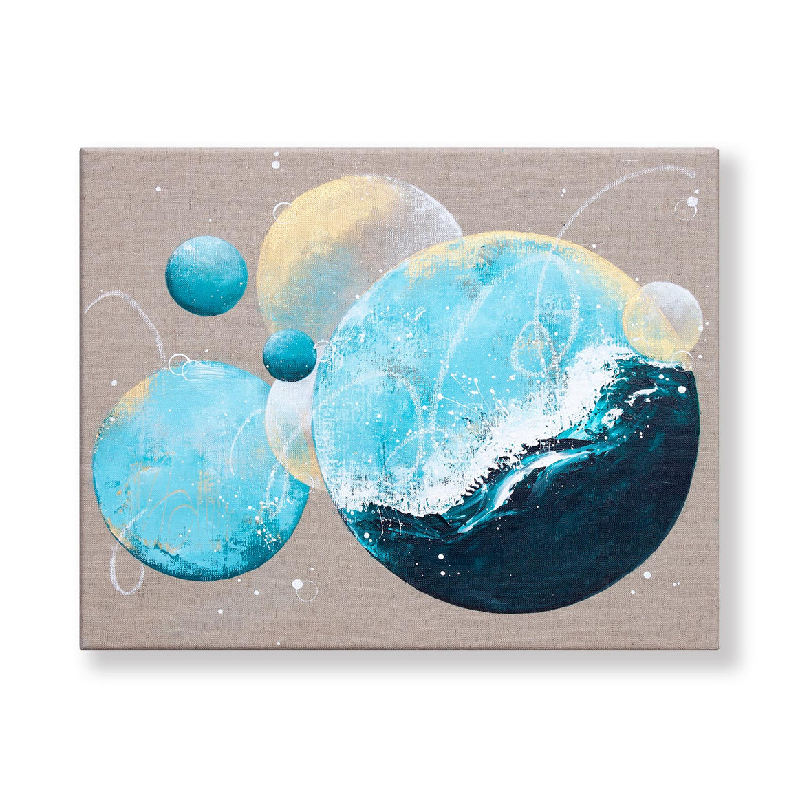 Riptide Moonbathing Painting 40cm x 50cm on Raw Linen Canvas