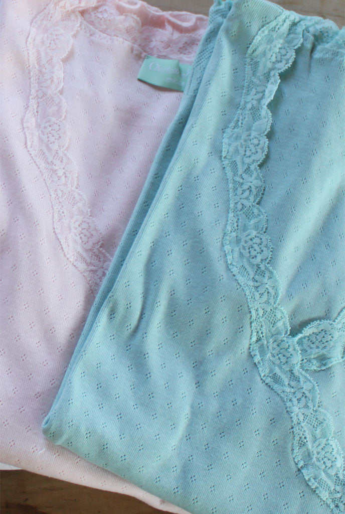 Lace trim nursing waterfall cardigan in pink and duck egg
