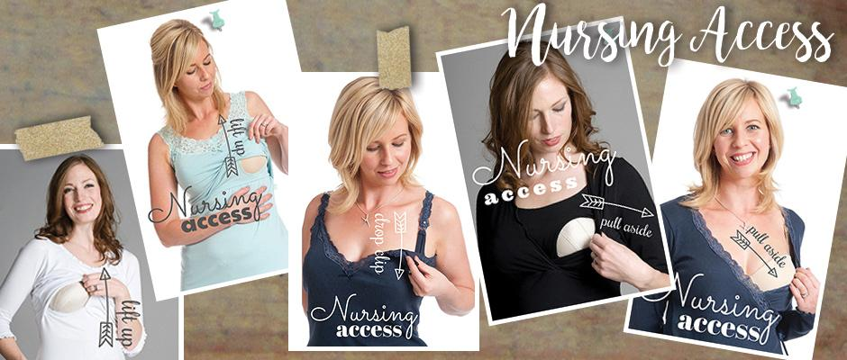 Nurse with confidence using our discreet nursing access and flattering designs
