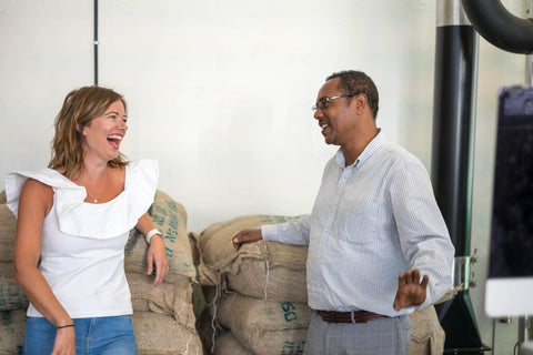 Joanna Alm and Tsegaye Anebo at Drop Coffee Roasters