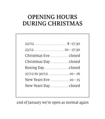 Opening hours Drop Coffee Christmas