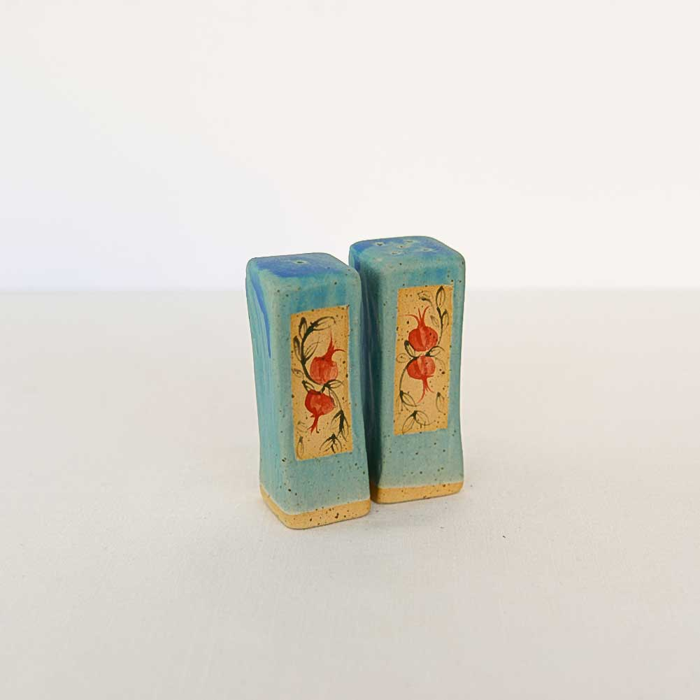 Salt and Pepper shakers - ARAVA - Turquoise Red Pomegranates