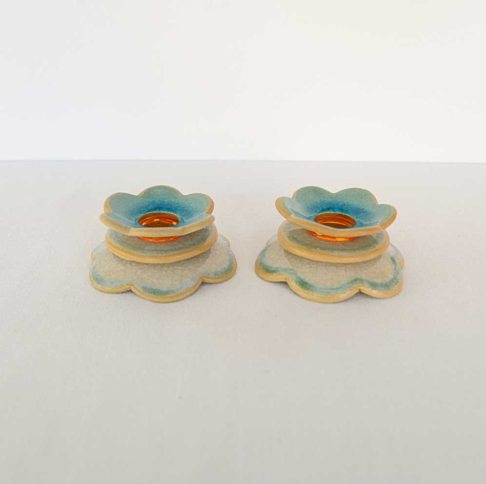 Flowers Candlesticks - Turquoise