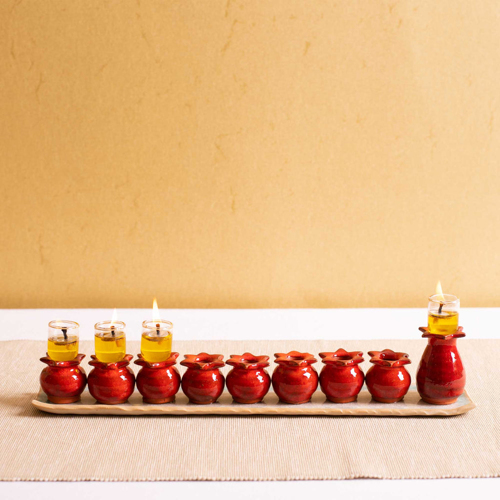 Red Pomegranate Menorah