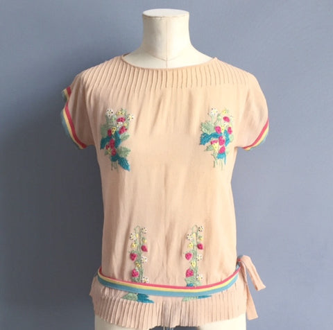 1930's Embroidered Crepe Blouse
