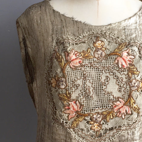 1920's Gold Lame Blouse with Crochet
