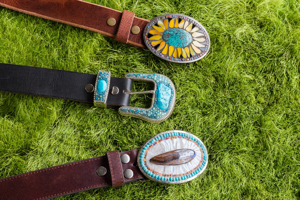 Three turquoise buckles