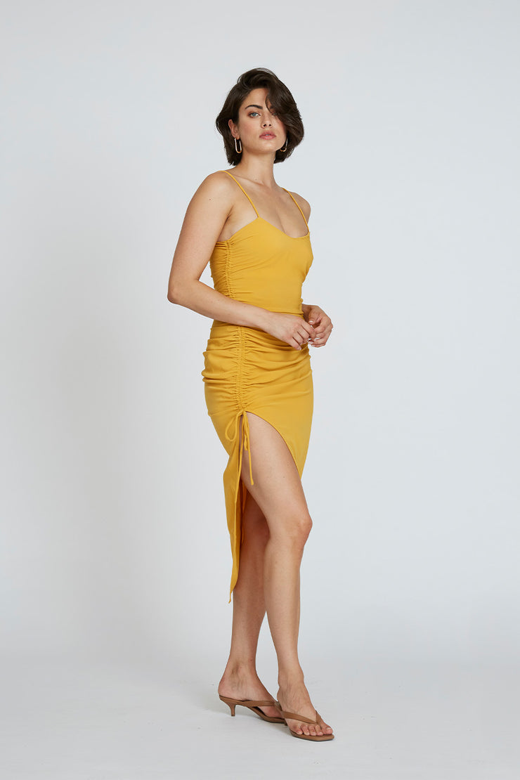 Simona Gather Split Midi - Mustard