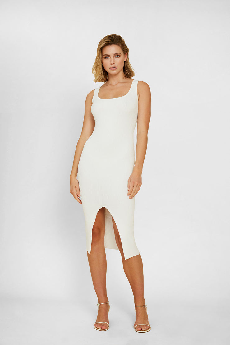 Alice Split Knit Dress - White | Final Sale