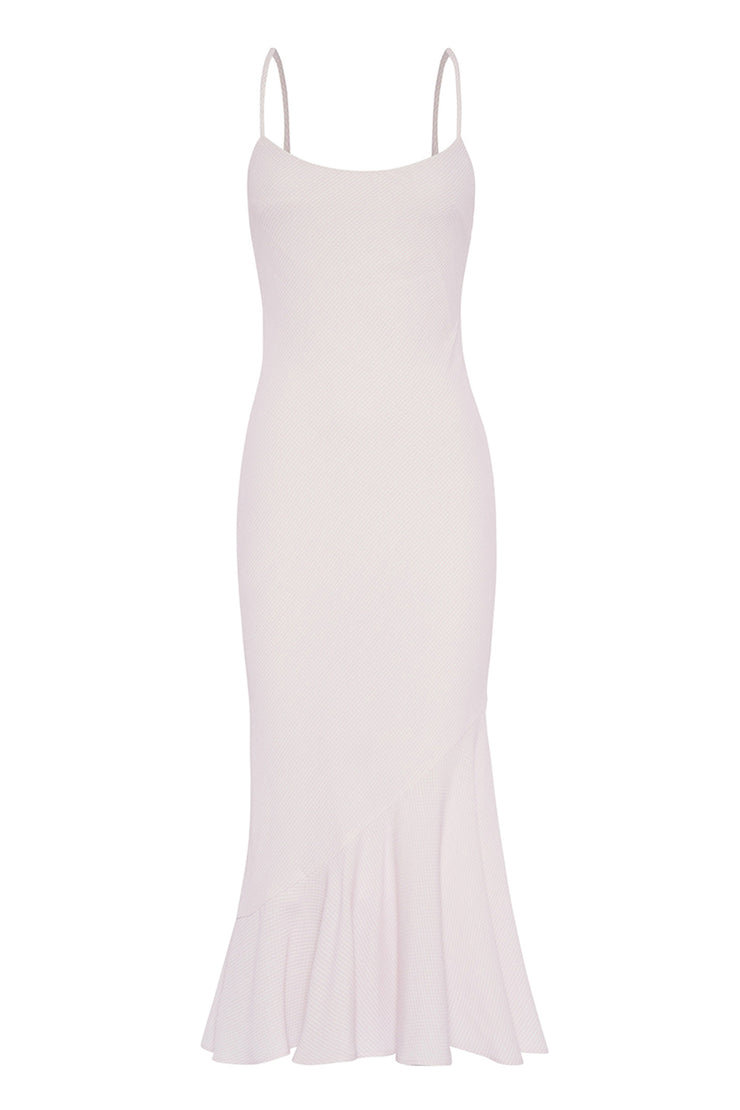 Shoe String Rising Frill Dress - Lilac White