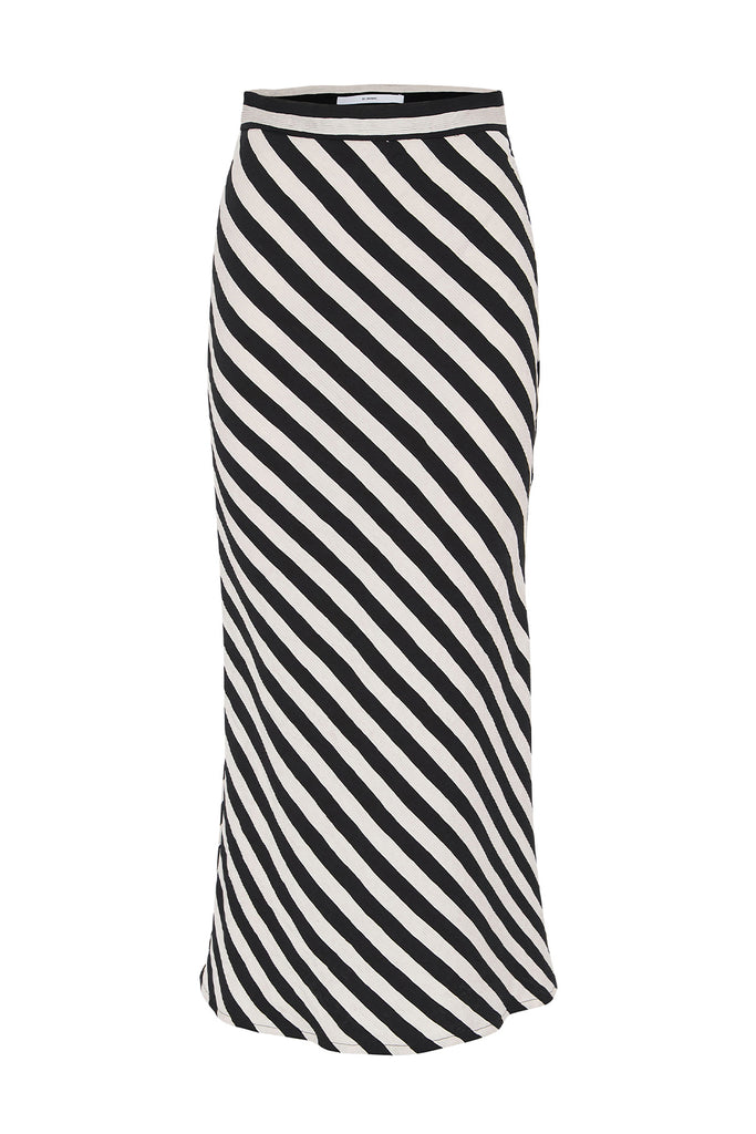 Bias Lines Midi Skirt | Final Sale - Black White Stripe