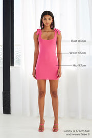Tie Up Knit Mini Dress | Final Sale - Hot Pink